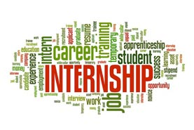 "Collage of words relating to career development, the most prominent of which is ""internship."""